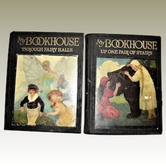 """1920 1st Ed 2 Vol's Children's My Bookhouse - """"Through Fairy Halls"""" & """"Up One Pair of Stairs"""""""
