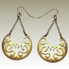 Vintage Brass Crescent Boho Earrings