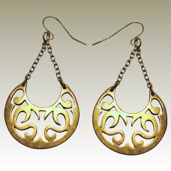 Vintage Brass Crescent Boho Earrings