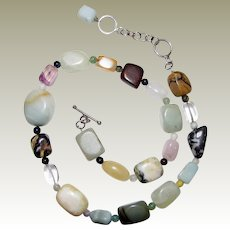 "Sterling & Semi Precious Gemstone 16"" - 18"" Necklace"