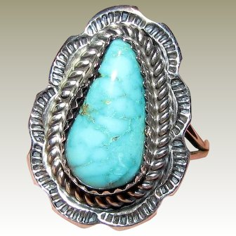 Navajo Harrison Yazzie Sterling Turquoise Ring Sz 8