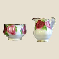 Royal Albert Old English Rose Creamer & Sugar, Mint!