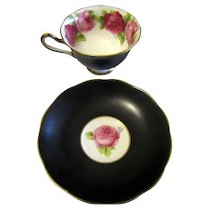 Art Deco Matte Black Old English Roses by Royal Albert Tea Cup & Saucer