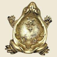 "Ornate Brass 5"" Frog Trinket Tray/Ashtray/Coin Dish"
