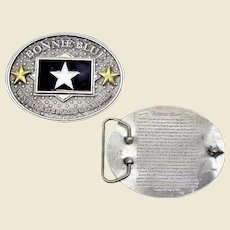 CSA Pewter Belt Buckle Bonnie Blue Star Flag