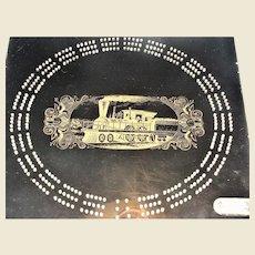 "70's Black Cribbage Board Steam Engine Design, 1/2"" Thick Acrylic"