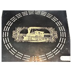 "70's Black Cribbage Board Steam Engine Design, 1/2"" Thick Acrylic"