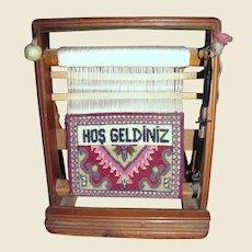 """Vintage Miniature Turkish Loom w/ """"Welcome"""" Carpet"""