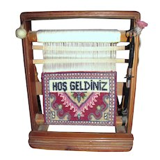 "Vintage Miniature Turkish Loom w/ ""Welcome"" Carpet"