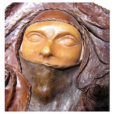Sculpted Leather Wall Art ~ Mysterious Veiled Woman