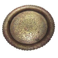 "5 1/2"" Brass Indian Dish w/ Peacock Engraving"