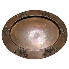 Antique English Arts & Crafts Planished Copper Oval Tray