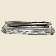 c.1900 Cut Lead Crystal Pen & Pencil Holder, Desktop, Rare, Near Mint