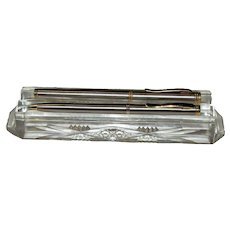 c.1900 Cut Lead Crystal Pen & Pencil Holder, Desktop, Rare, Near Mint
