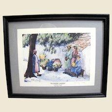 "Signed Shirley Carroll Charleston Themed ""Flower Ladies"" Framed Print"