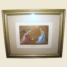 """Beautifully Framed Lithographic Print of """"The Annunciation"""" (Beato Angelico)"""