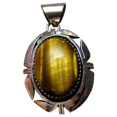 Native American Sterling & Tigers Eye Pendant, 8.2 grams