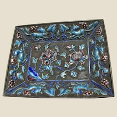 Antique Chinese Enameled Dish w/ Exotic Beasts, Leaves & Flowers