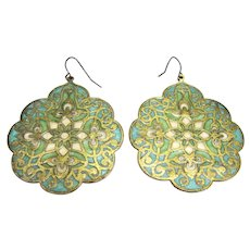 Filigree Plique a Jour Large Disk Earrings