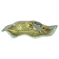 Trinket Tray with Crab, Ceramic Tray Pottery Dish, Leaf Shaped with Various Shades of Green Glaze, Signed by Artist Teri Whitnar, Mint