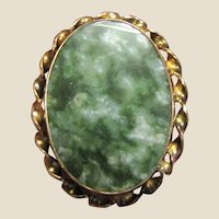 BAL-RON Jade Brooch Pendant 12K Gold Filled, Mid Century Elegant