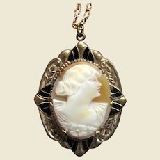 Art Deco Carved Shell Cameo Locket