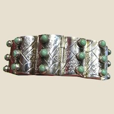 1940's Far Fan Taxco Mexico Sterling & Turquoise Barrel Bracelet, 72 grams