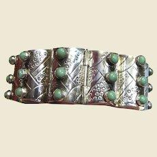 1940's Far Fan Taxco Mexican Sterling & Turquoise Bracelet, 72 grams