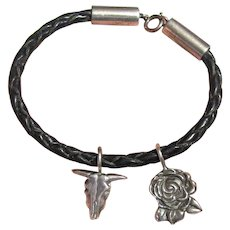 Texas Themed Sterling & Leather Charm Bracelet