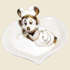 Cute Minnie Mouse on a Heart Trinket Tray
