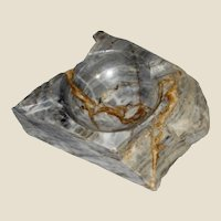 Italian Marble Ashtray, Gray White & Brown, Rough Primitive
