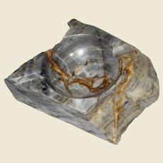Italian Marble Ashtray, Gray White & Brown, Rough Primitive