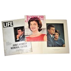 3 Souveniers of John & Jackie Kennedy, circa 1960-63 Portrait Picture, Life Magazine and Biographical Magazine