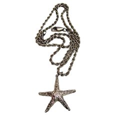 "Sterling Starfish Pendant on 18"" Italian Rope Chain, 14.8 grams"