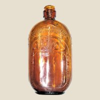 Fancy Art Deco Pressed Glass Brown Flask, Liquor Bottle, Iridescent