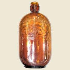 Fancy Art Deco Pressed Glass Brown Flask, Liquor Bottle, Iridescent