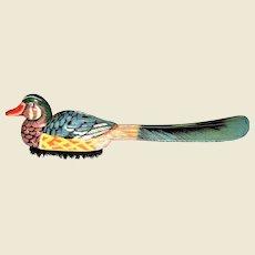 Vintage Mandarin Duck Clothes Brush & Shoe Horn, Like New