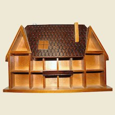 """Wooden """"House"""" Curio Wall Cabinet for Miniature Display"""