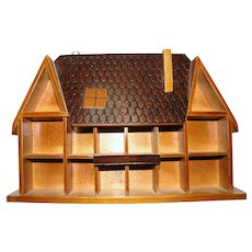 "Wooden ""House"" Curio Wall Cabinet for Miniature Display"