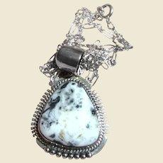 Navajo John Nelson White Buffalo & Sterling Pendant Necklace