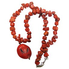 "16"" Bamboo Coral & Resin Bead Necklace"