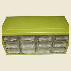 12 Drawer Hard Plastic Small Parts Cabinet, Made in Denmark