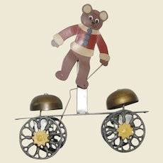 Vintage Bear Bell Pull Toy Signed GMD (missing clangors)