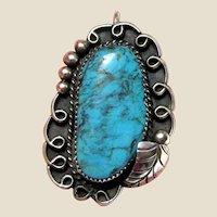 Large Native American Turquoise Pendant Signed RJK