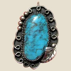 Large Native American Turquoise Pendant Signed RJK