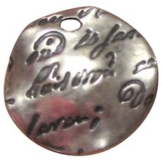 Sterling Charm or Small Pendant w/ Script Writing
