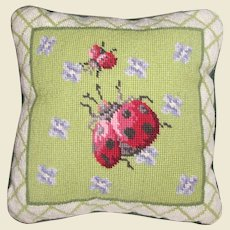 "Cute Ladybug Wool Needlepoint ""10 Pillow"