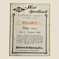 Vintage Davis & Geck Heat Sterilized Kalmerid Catgut Sutures size 0, original box
