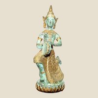 Southern Indian Hindu Brass Figure of Saraswati Playing a Kanjira