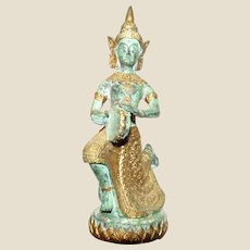 Southern Indian Hindu Brass Figure of Saraswati Playing a Kanjira
